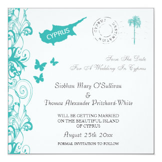 Cyprus Save The Date In White And Aqua Custom Invites