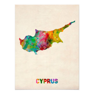 Cyprus Watercolor Map Photo Art