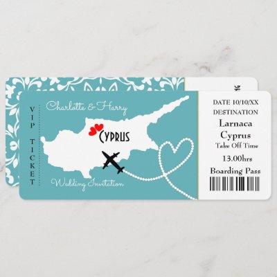 Cyprus Wedding Destination Europe Ticket Invitation