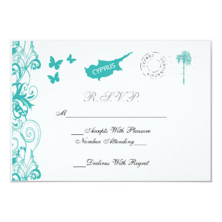 Cyprus Wedding RSVP Card In Aqua And White Announcement