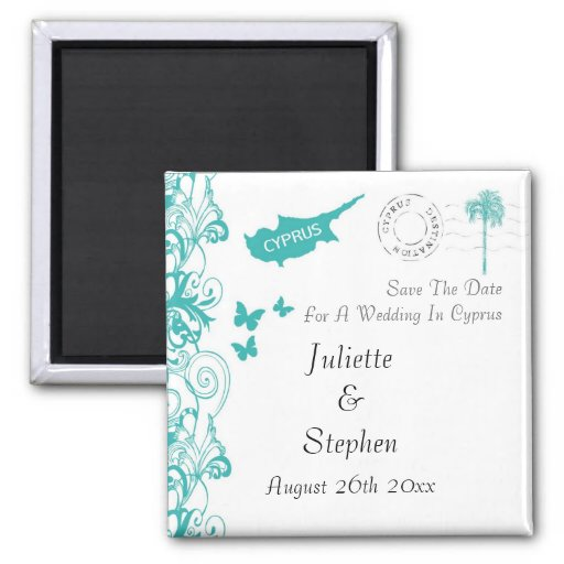 Cyprus Wedding Save The Date 2 Inch Square Magnet