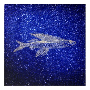 Beach Themed Cypselurus Flying Fish Ocean Sea Blue Navy Foxier Acrylic Wall Art