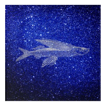 Beach Themed Cypselurus Flying Fish Ocean Sea Blue Navy Silver Acrylic Print