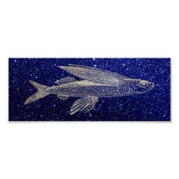 Beach Themed Cypselurus Flying Fish Ocean Sea Life Navy Blue Poster