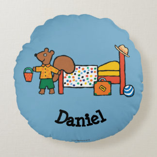 Cyril the Squirrel on Vacation Round Pillow