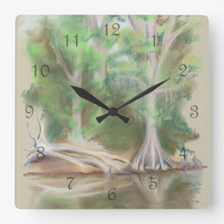 Cyrpess by the River Square Wall Clock