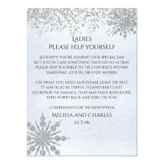 Cyrstal Snowflakes Wedding Basket Sign Card