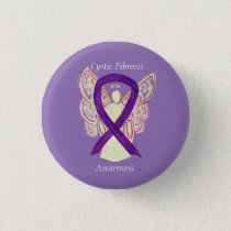 Cystic Fibrosis Awareness Angel Ribbon Art Pin
