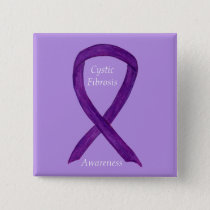 Cystic Fibrosis Awareness Ribbon Custom Art Pin
