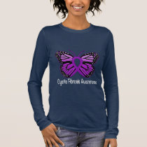 Cystic Fibrosis Butterfly Awareness Ribbon Long Sleeve T-Shirt