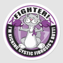 Cystic Fibrosis Cat Fighter Classic Round Sticker