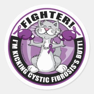 Cystic Fibrosis Cat Fighter Classic Round Sticker