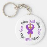 Cystic Fibrosis Faith Hope Love Cross Keychains