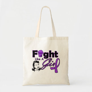 Cystic Fibrosis Fight Like A Girl - Retro Girl Budget Tote Bag