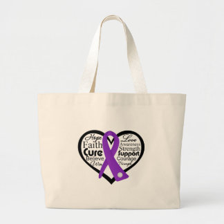 Cystic Fibrosis Heart Ribbon Collage Large Tote Bag