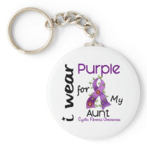 Cystic Fibrosis I Wear Purple For My Aunt 43 Keychain