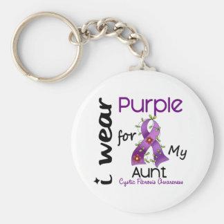 Cystic Fibrosis I Wear Purple For My Aunt 43 Keychain