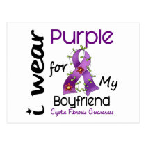 Cystic Fibrosis I Wear Purple For My Boyfriend 43 Postcard