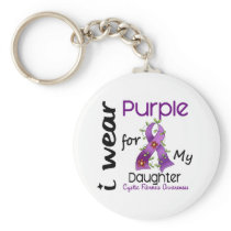 Cystic Fibrosis I Wear Purple For My Daughter 43 Keychain