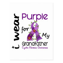 Cystic Fibrosis I Wear Purple For My Grandfather 4 Postcard