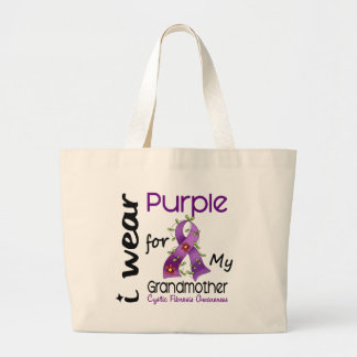 Cystic Fibrosis I Wear Purple For My Grandmother 4 Large Tote Bag