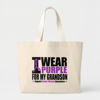 Cystic Fibrosis I Wear Purple For My Grandson Large Tote Bag