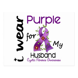 Cystic Fibrosis I Wear Purple For My Husband 43 Postcard