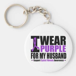 Cystic Fibrosis I Wear Purple For My Husband Keychain