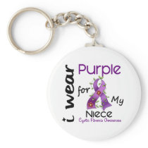 Cystic Fibrosis I Wear Purple For My Niece 43 Keychain