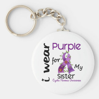 Cystic Fibrosis I Wear Purple For My Sister 43 Basic Round Button Keychain