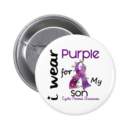 Cystic Fibrosis I Wear Purple For My Son 43 Pinback Button