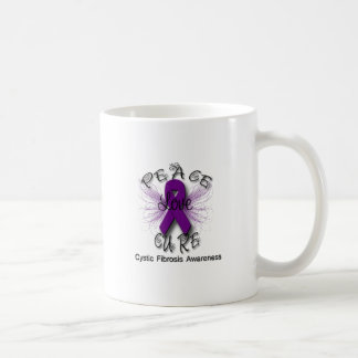 Cystic Fibrosis Peace Love Cure Butterfly 2 Coffee Mug