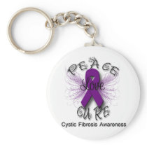 Cystic Fibrosis Peace Love Cure Butterfly 2 Keychain