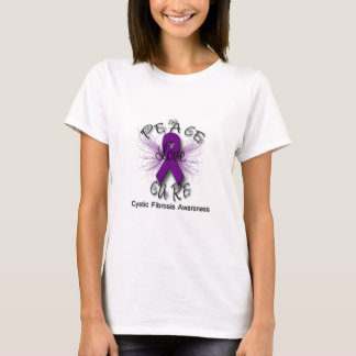 Cystic Fibrosis Peace Love Cure Butterfly 2 T-Shirt