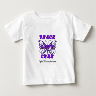 Cystic Fibrosis Peace Love Cure Butterfly Baby T-Shirt