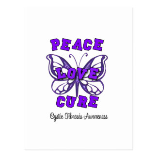 Cystic Fibrosis Peace Love Cure Butterfly Postcard