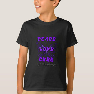 Cystic Fibrosis Peace Love Cure Butterfly T-Shirt
