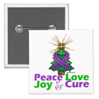 Cystic Fibrosis Peace Love Joy Cure Buttons