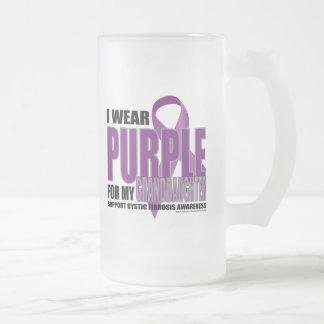 Cystic Fibrosis:Purple for Granddaughter Frosted Glass Beer Mug