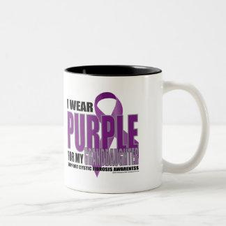 Cystic Fibrosis:Purple for Granddaughter Two-Tone Coffee Mug