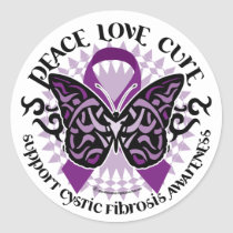 Cystic Fibrosis Tribal Butterfly Classic Round Sticker
