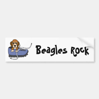 CZ- Beagle Puppy Dog in a Shoe Cartoon Car Bumper Sticker