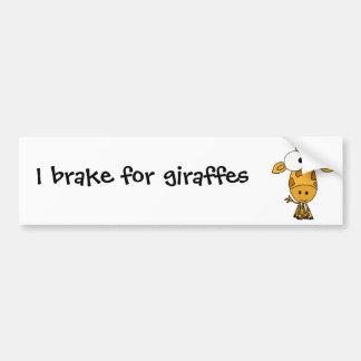 CZ dibujo animado divertido de la jirafa Pegatina Para Auto