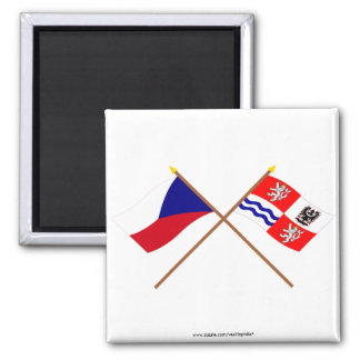 Czech and Central Bohemia Crossed Flags 2 Inch Square Magnet
