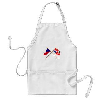 Czech and Central Bohemia Crossed Flags Apron