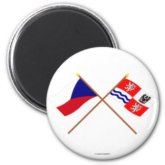 Czech and Central Bohemia Crossed Flags Fridge Magnet