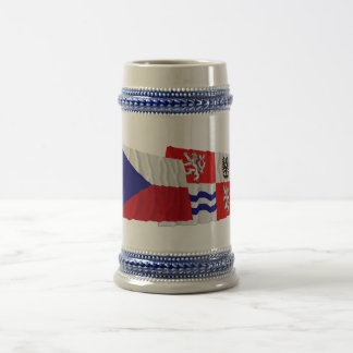 Czech and Central Bohemia Waving Flags Beer Stein