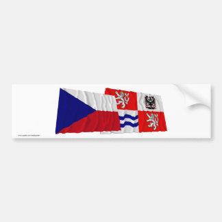 Czech and Central Bohemia Waving Flags Bumper Sticker