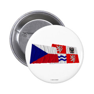 Czech and Central Bohemia Waving Flags 2 Inch Round Button