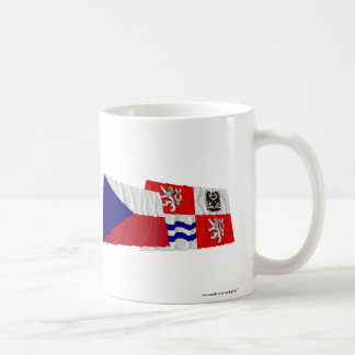 Czech and Central Bohemia Waving Flags Coffee Mug
